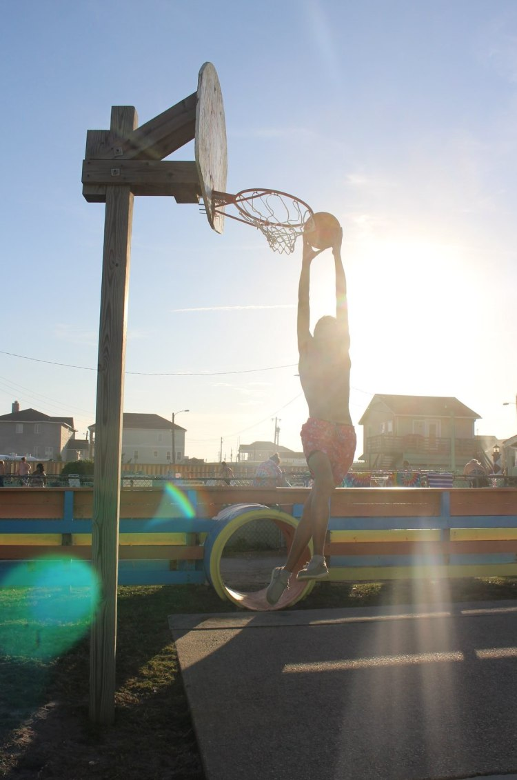 D basketball at beach 2020 with sun spot
